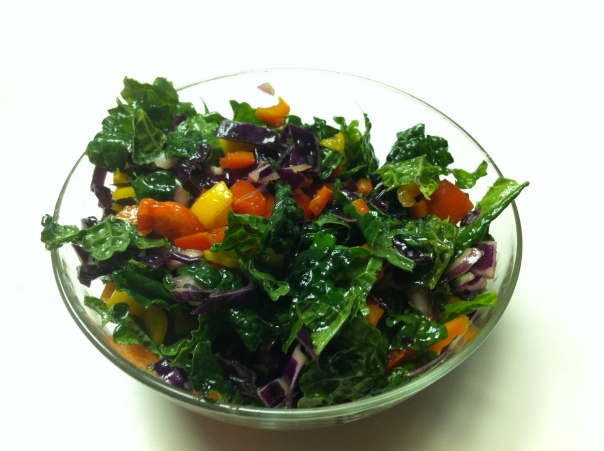 Mom's Kale Salad:  kale, red cabbage, red and yellow pepper and agave dressing